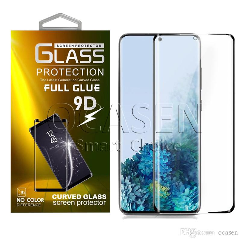 Completa del pegamento adhesivo Caso amistoso 3D 5D vidrio templado para Samsung S9 S10 S20 Plus Ultra Nota 9 10 Plus Con paquete al por menor