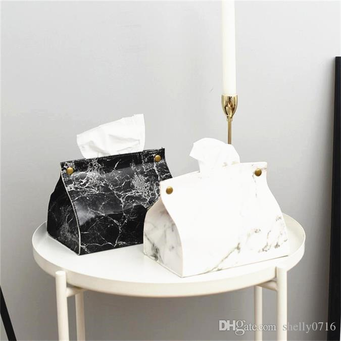 Шикарный тканевый чехол коробка контейнер искусственная кожа мраморный узор домашний автомобиль полотенце салфетка бумажный мешок держатель коробка чехол Чехол украшение стола