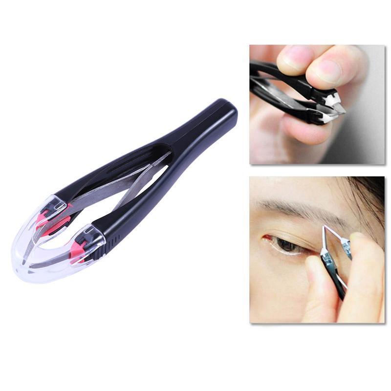 Extension de cils antidérapante rétractable automatiquement pince à sourcils pince double paupière autocollant yeux Pinzette outil épilation