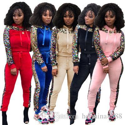 Stylish Women Solid Long Sleeves Velvet Sequins Patchwork Casual Pants Suit 2pcs