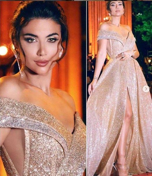 Atractivo brillante barato 2019 vestidos de noche árabe novia de una línea de lentejuelas vestidos de baile elegante del partido de la dama de honor formal del desfile de los vestidos