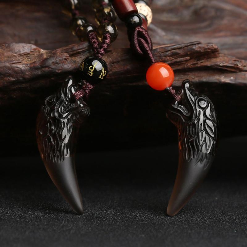 2019 neue heiße Halskette gesetzt Obsidian passende Spike Obsidian Lovers Halsketten-Anhänger natürlichen Eiskristall Schmuck Geschenk für Ladys oder Männer