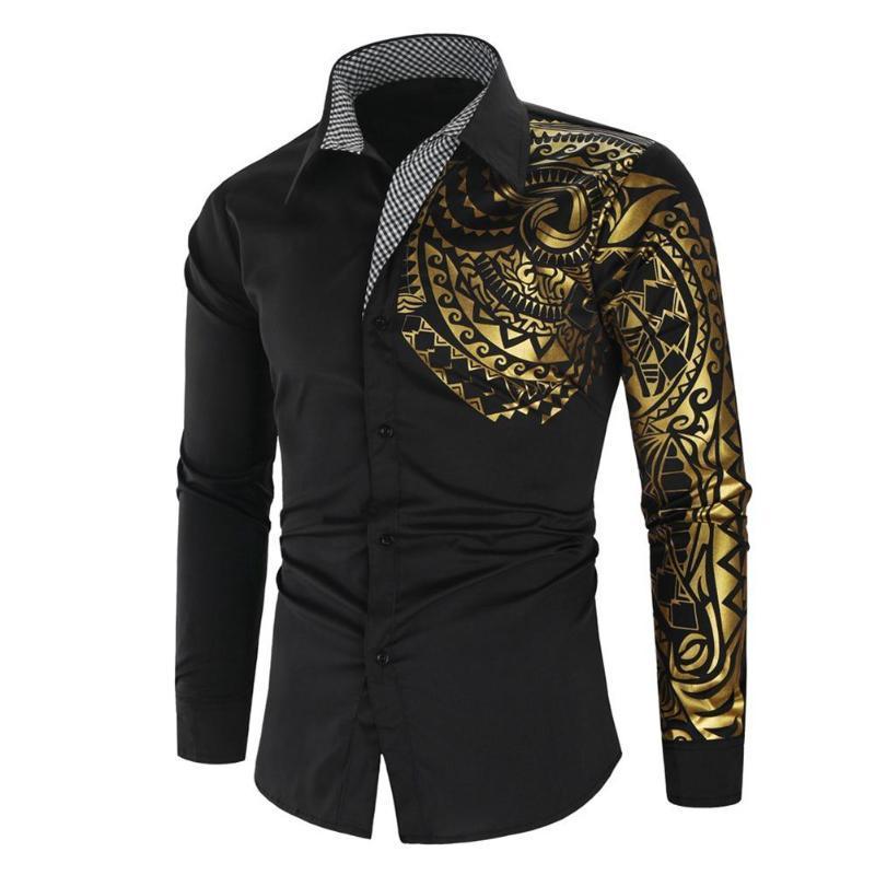 Luxuxmann Shirt Männer Hot Stamping Totem Print Drehen Button-Down-Kragen-dünnes Langarm-Shirt Top öffentlicher Verein Fancy