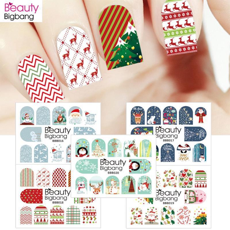 BeautyBigBang 1sheet Xmas ногтей наклейки Наклейка Рождество Санта Клаус Олень Маникюрные стикеры искусства ногтя воды наклейки украшения