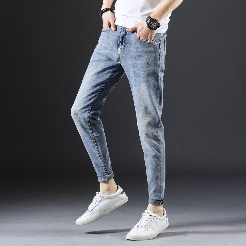 Человек Омывается мыть джинсы лодыжка брюки Slim Fit мужских джинсы синего Tide прохладной работы свободных брюки Stretch деним хлопок брюки