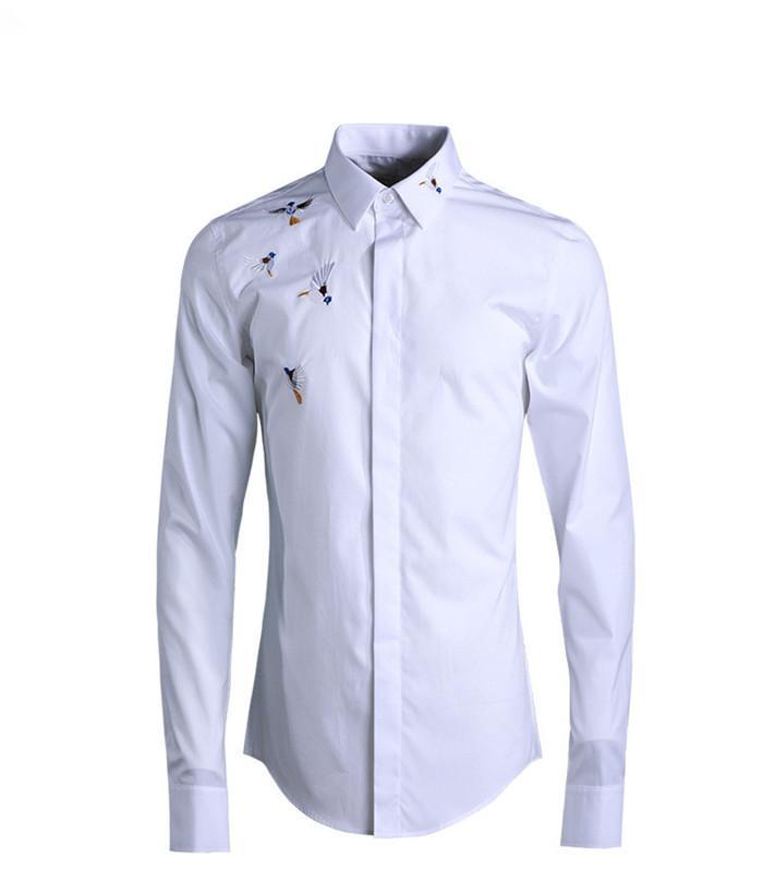 Рубашка рукава Сплошной Homme Китайский Цвет Мужской Вышитый стиль Мода Рубашка Длинный Дизайнер Распечатать Adxeg