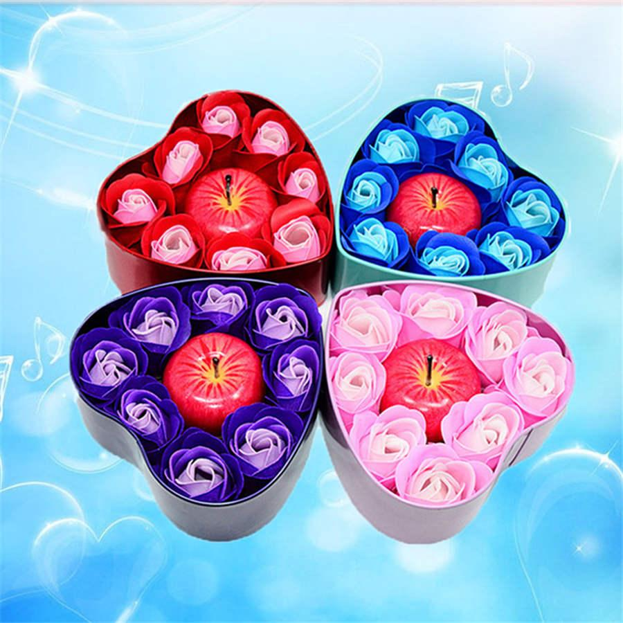 Christmas Heart Shaped Tin Box Soap Flower Apple Candle Gift Box Valentine's Day Soap Flower Gift Wholesale