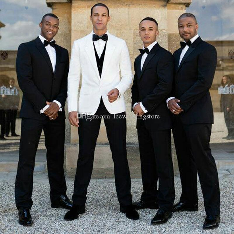 Black Men Suits for Wedding Bridegroom Groomsmen Custom Made Groom Wear Casual Tuxedos Best Man Blazer Slim Fit Jacket Pants 2Piece Costume