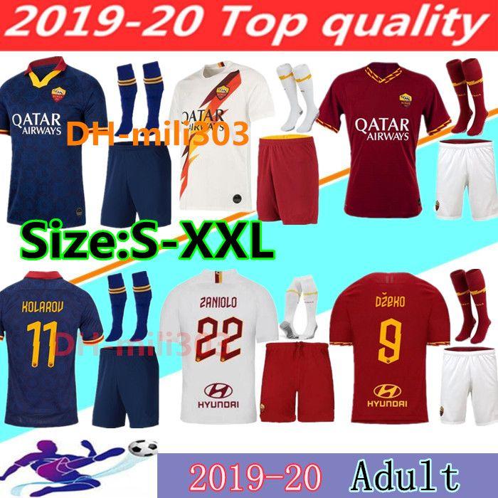 2019 2020 AS Roma fútbol casero Jersey kits 19 20 DZEKO TOTTI roma Camisetas tercera camiseta de fútbol Kit De Rossi PEROTTI ZANIOLO uniformes S-2XL