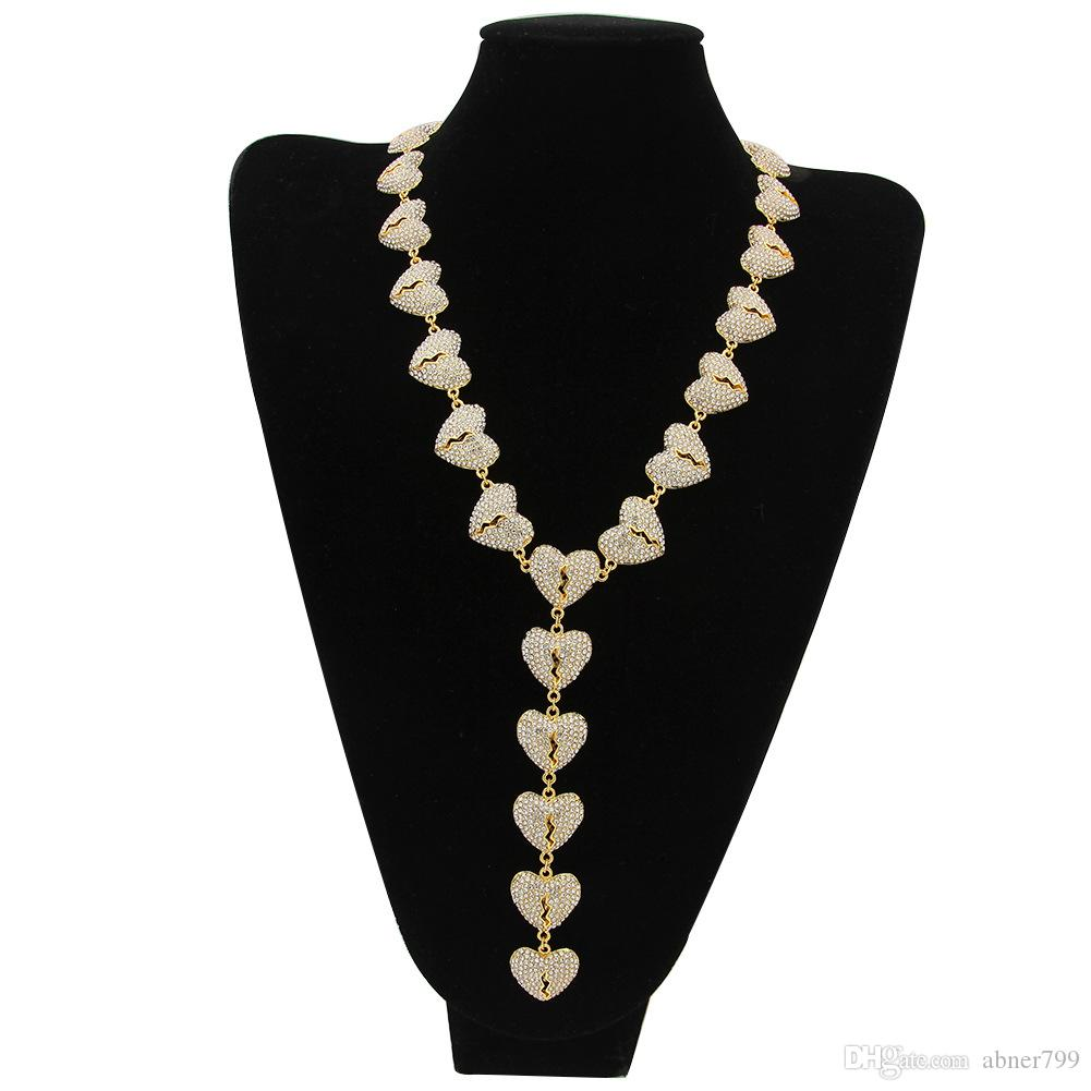 The manufacturer supplies the new HeartBreak Necklace HeartBreak Necklace Heart Connection hip hop jewelry from Europe and America.