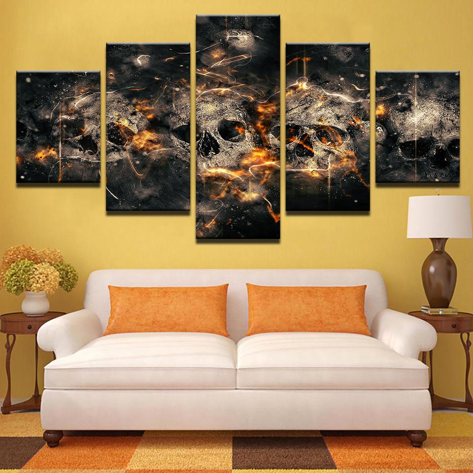 Modular Canvas Paintings Unframed Wall Art Modern 5 Pieces Unique Abstract Horror Skull Poster HD Printed Home Decorative