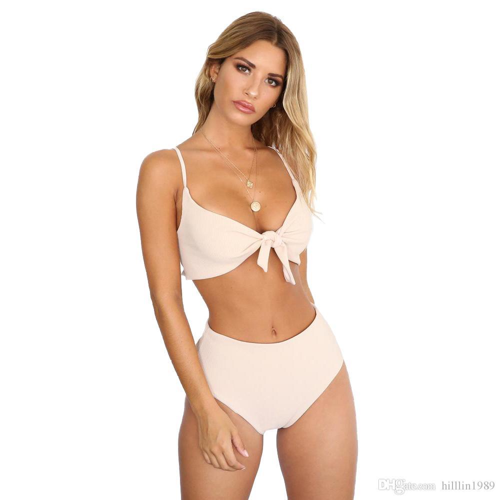 Sexy Push-up Swimwear Two Piece Girl Bikinis Spaghetti Straps Padding Swimsuit 50% High Waist Beach Outfits Fashion Women Swimming Costumes