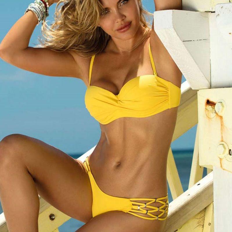 Sexy Grande Swimsuit Com Push Up Bikini Yellow Terno Swimwear das mulheres Plus Size Praia Swim Wear Brasileiro Feminino Biquinis Y200319