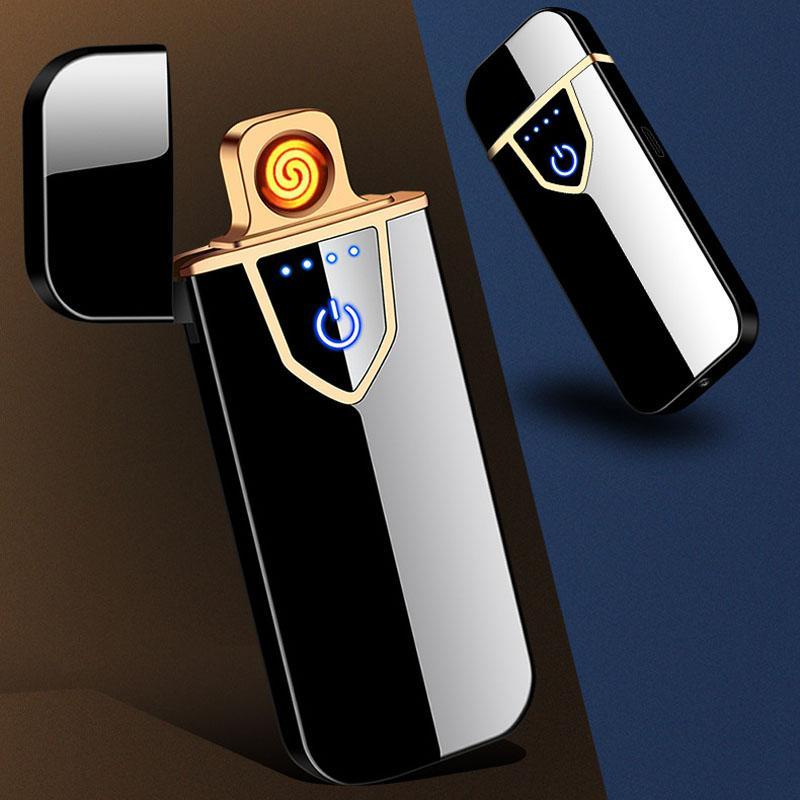 Encendedores de carga USB de la pantalla táctil Sentido a prueba de viento encendedor de cigarrillos del lado del doble de fuego electrónica portátil más ligero de metal Encendedores BH2616 TQQ