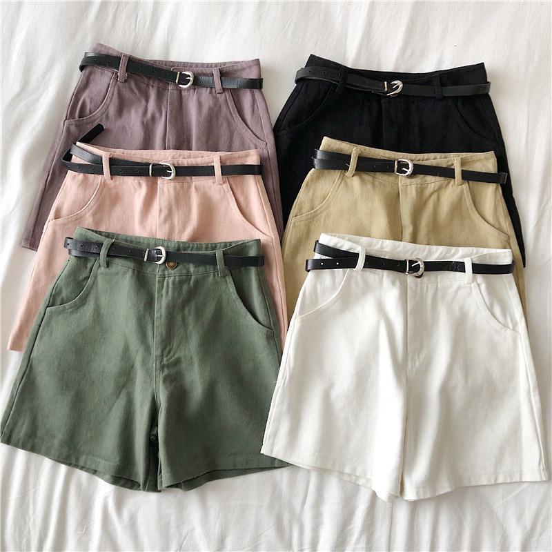 Jeans das mulheres casuais Sashes Denim Shorts 2021 verão fina cintura alta mulheres soltas pálidas de perna larga todas as fêmeas esportivas