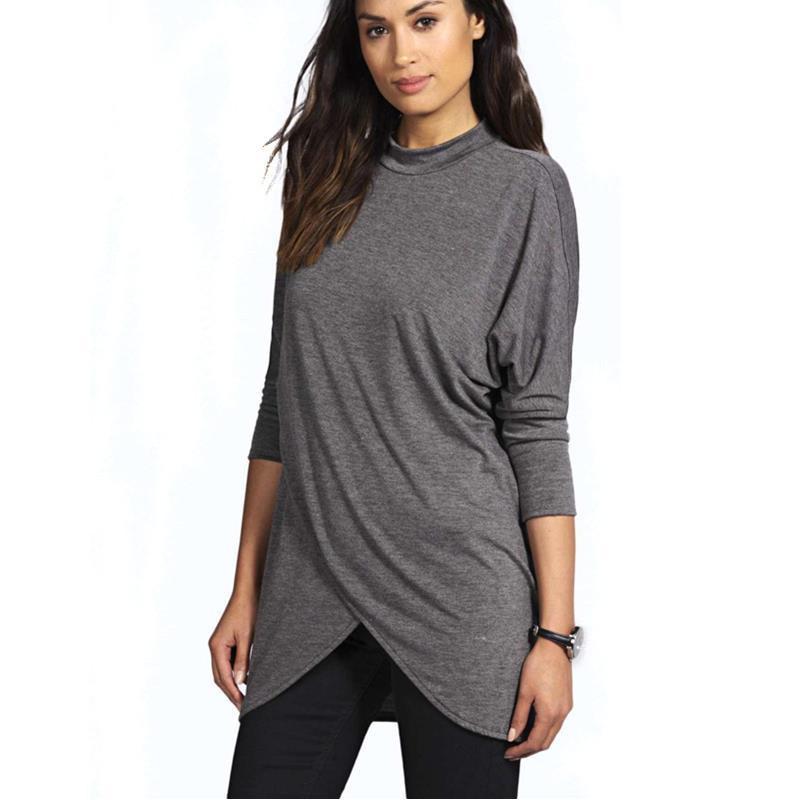 womens concepteur taille plus T-shirt loose ourlet irrégulier