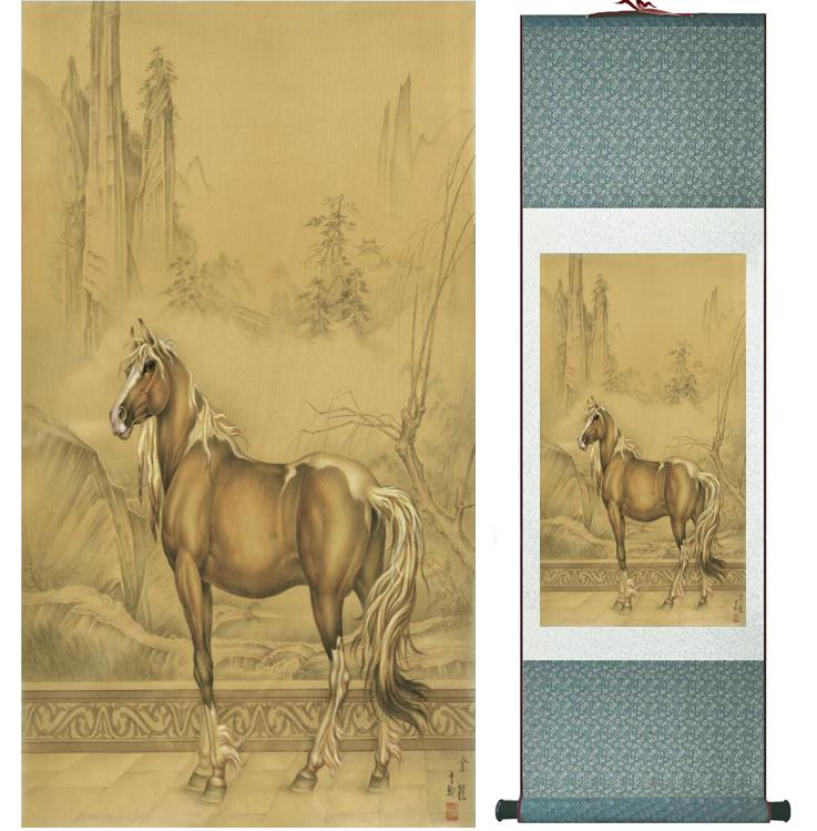 Traditional Chinese Art Painting Horse Art Painting Silk Scroll Art Painting