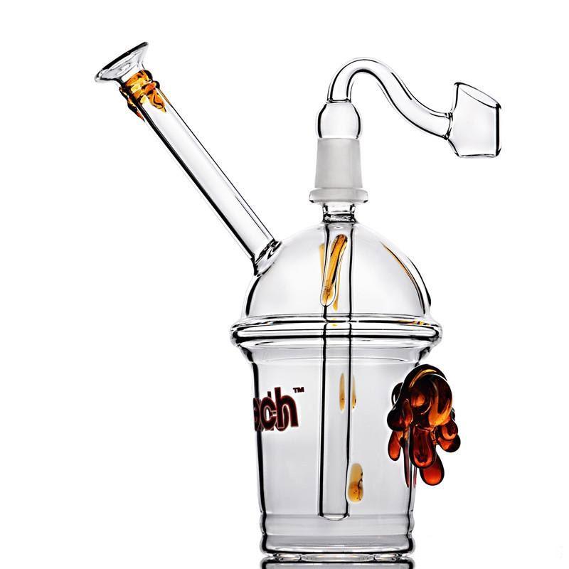 Cheech Cam Bardak Bong ile Downstem Yağ Teçhizatı Bubbber Su Borusu Cam Banger ile 14mm Ortak Bongs Sigara İçilebilir Kargo
