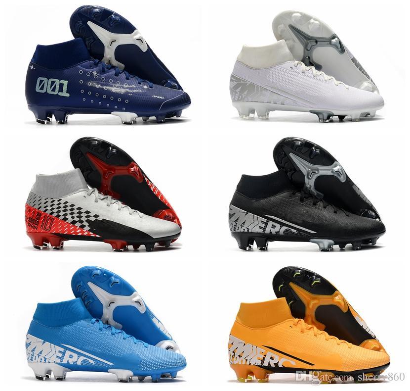2020 мужские футбольные бутсы Mercurial 7 Elite FG CR7 футбольные бутсы футбольные бутсы Неймар Тако де Futbol HOTSALE Синий
