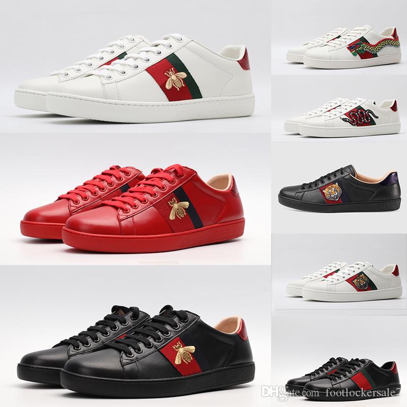 2020 Arı Ayakkabı Kırmızı Siyah Beyaz Deri Ayakkabı ACE Sneakers İçin Erkekler Kadınlar Noel Yıldız Yılan Kaplan Düz Bottoms Eğitmenler Elbise Ayakkabı