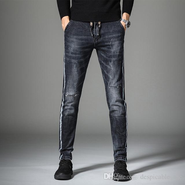 새로운 남성 스트레치 찢어진 청바지 modis 옷을 2020 년을 위한 가을 봄 힙합 겨울 블랙 street wear 블랙