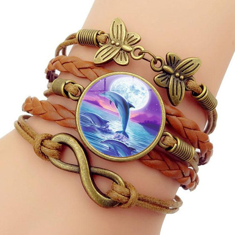 Lovely Dolphin Time Bracelet Butterfly 8 Word Group Combine Hand Rope Ornament