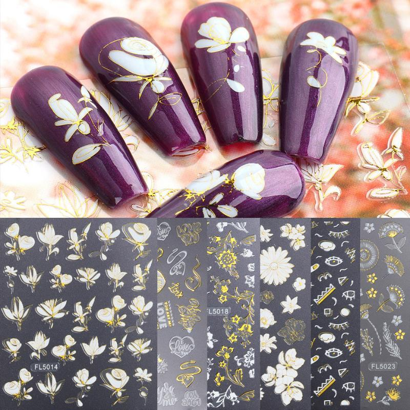 Gold White 5D Nail Sticker Flowers Adhesive Sliders Hollow Glitter Designs Letter Heart Nail Decals Summer Acces