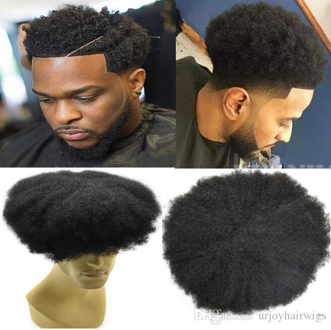 Celebrity Toupee Herren Haarteile Afro Curl Volle Spitze Toupee Jet Schwarze Farbe # 1 Indianer Remy Menschliches Haar Männer Haar Ersatz für Schwarze Männer
