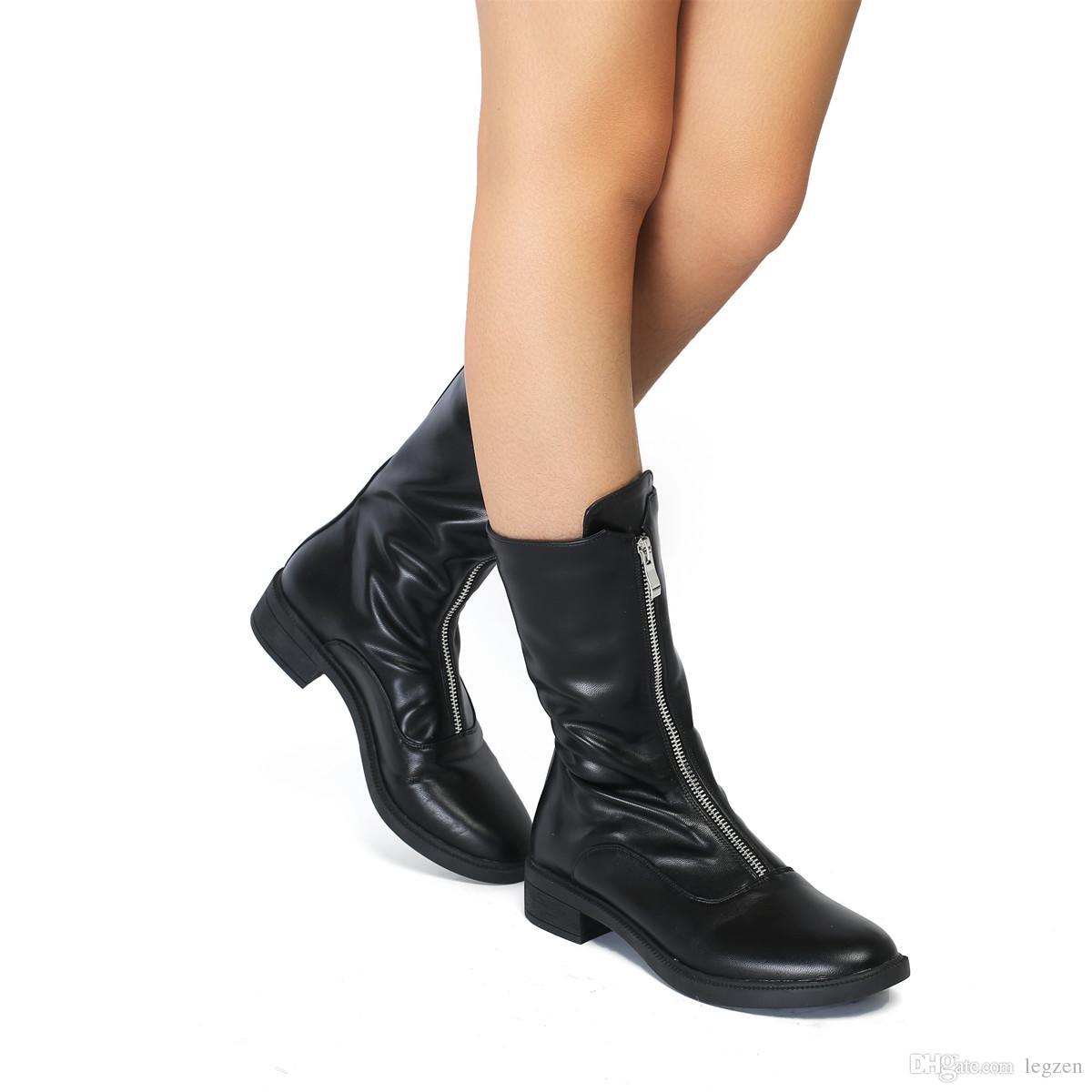 vestibilità classica cercare San Francisco Acquista Legzen Moda Donna Stivaletti Combat Faux Leather Punta ...