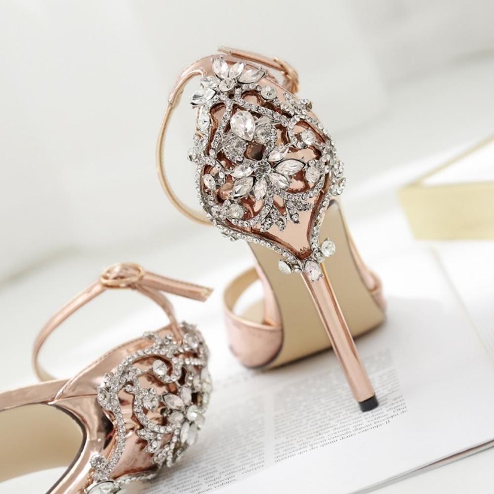Насосы Sexy высоких каблуках сандалии обувь женщина серебро Rhinestone Свадебная обувь Высокие каблуки партии Обувь Летняя Высота пяток Сандалии