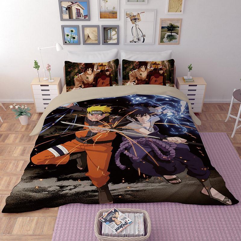 Edredon Anime.2019 Llancl Cartoon Japan Anime Naruto Printed Quilt Duvet Comforter Cover Adult Bedroom Polyester Fiber Christmas Gift Black Duvet Cover From Baolv