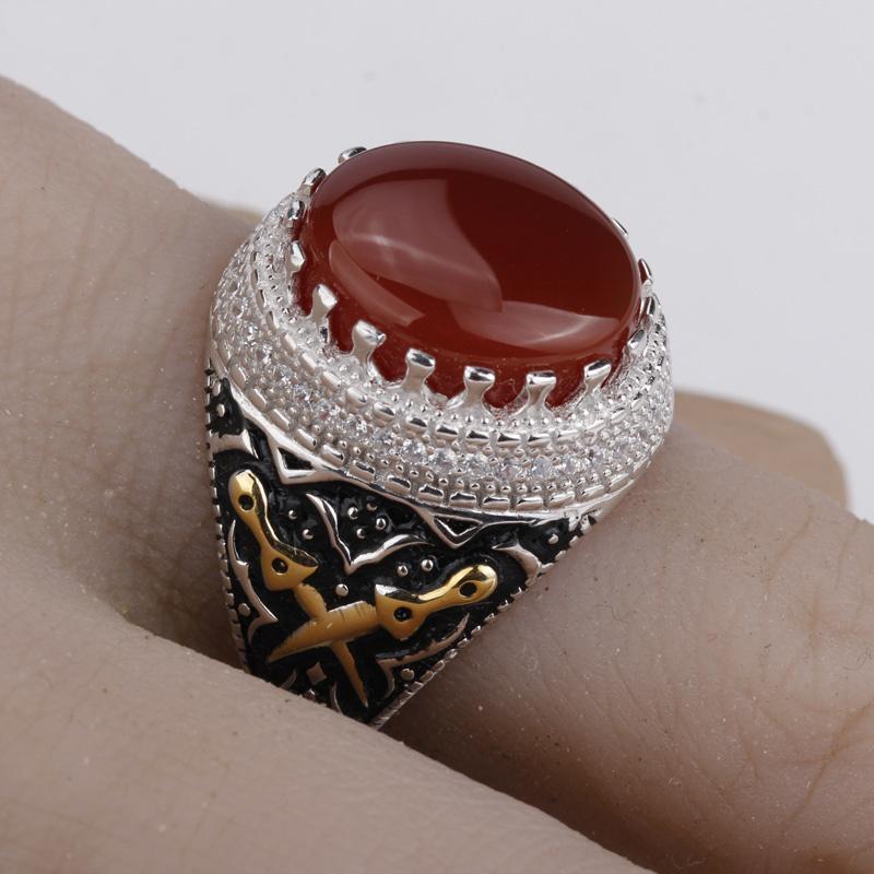 2018 männer ring echt 925 sterling silber roter stein mit doppelschwert klar cz finger ring für männer c18122501