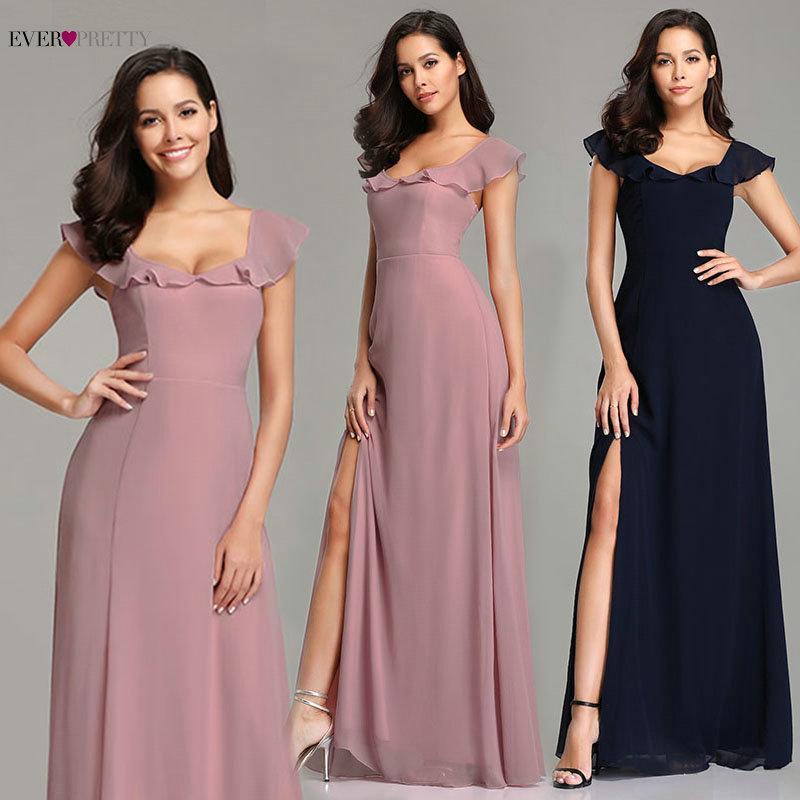 Темно-синие вечерние платья Ever Pretty EZ07737 2019 Новое поступление Элегантный розовый с длинными рукавами шифон Сексуальные разрезы для ног Вечерние платья для вечеринок