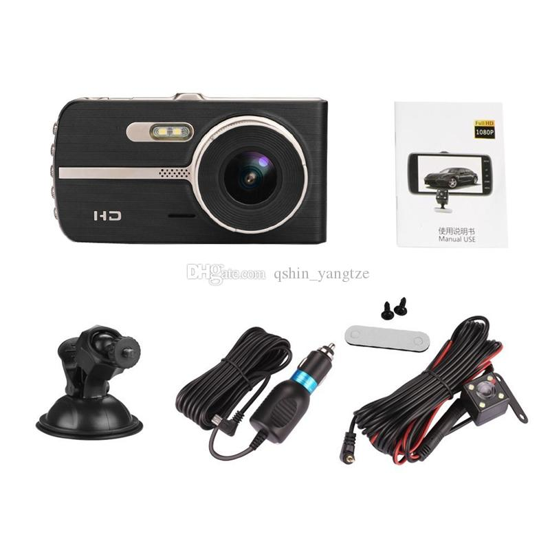 """4"""" car DVR recorder vehicle digital dashcam 2Ch car video camera double lens 170° + 120° super wide view angle full HD 1080P"""