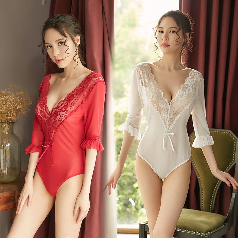 새로운 디자인 여성 섹시 속눈썹 레이스 란제리 세트 Chemises 란제리 미니 Babydoll 잠옷 Strappy 레이스 드레스