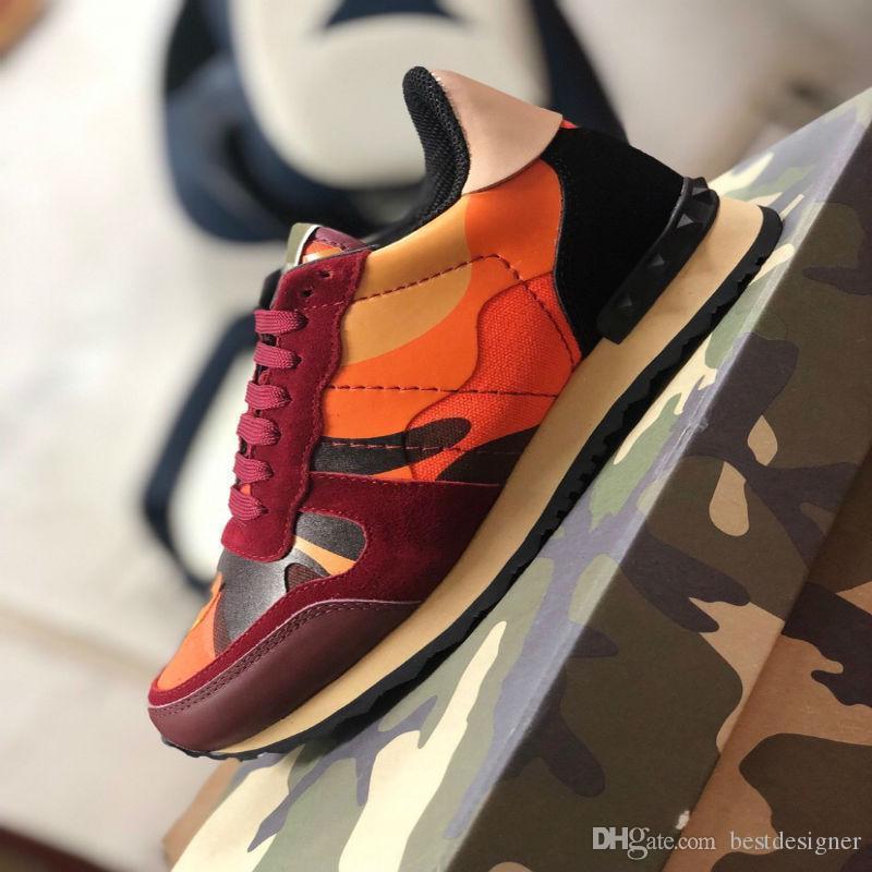 Мода высокое качество ACE заклепки камуфляж мужчины плоские туфли топ женский дизайнер повседневная обувь размер 36-46