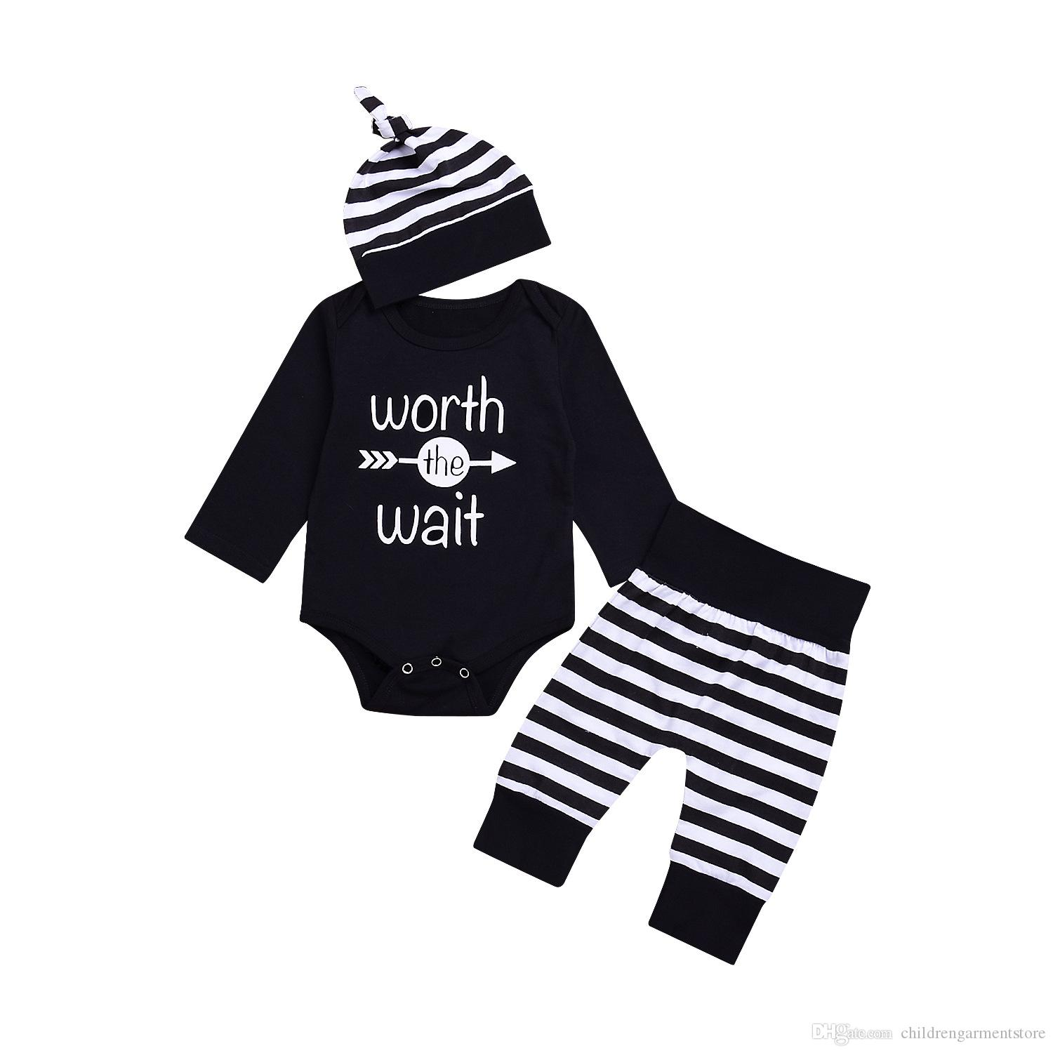 Newborn 4pcs Set Outfit Striped Hoodie with Romper Jumpsuit Striped Long Pants and Hat