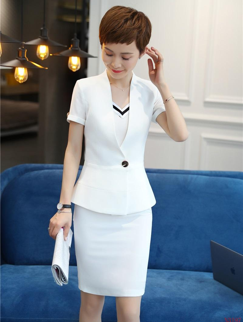 Fashion Women Skirt Suits White Blazer and Jacket Sets Ladies Work Wear Business Clothes Office Uniform Styles