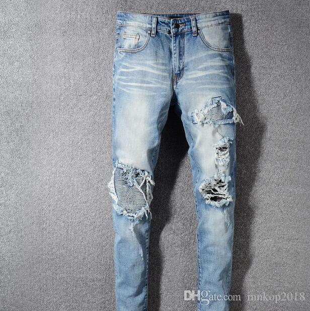 Jeans strappati Jeans da moto da motociclista Slim Uomo Jeans Hip Hop Designer 2019 Nuovi Jeans firmati Miri