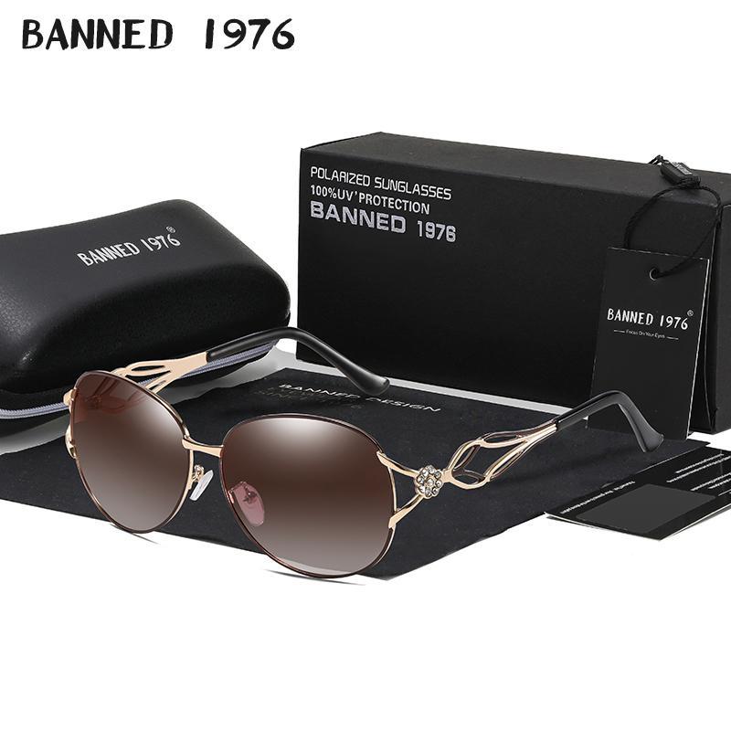 Banned Women's Hd Polarized Fashion Sunglasses Hot Sell Newest Brand Name Lens Feminin Diamond Sun Glasses Vintage With Gift Box MX190723