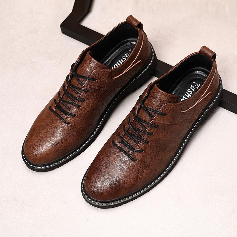Uomo scarpe di alta qualità Oxfords British Style Uomo Scarpe di vestito di cuoio genuini Business Flats formali * HMH1906