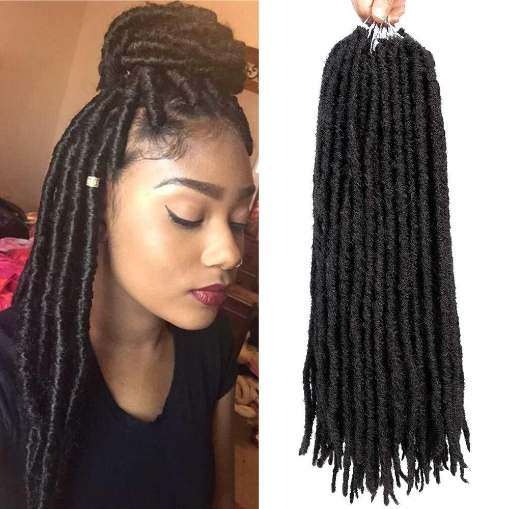 1Packs 24root Goddess Faux Locs Crochet Hair 18Inch Synthetic Straight Twist Braiding Hair Extensions Havana Mambo Crochet Braids Dreadlocks