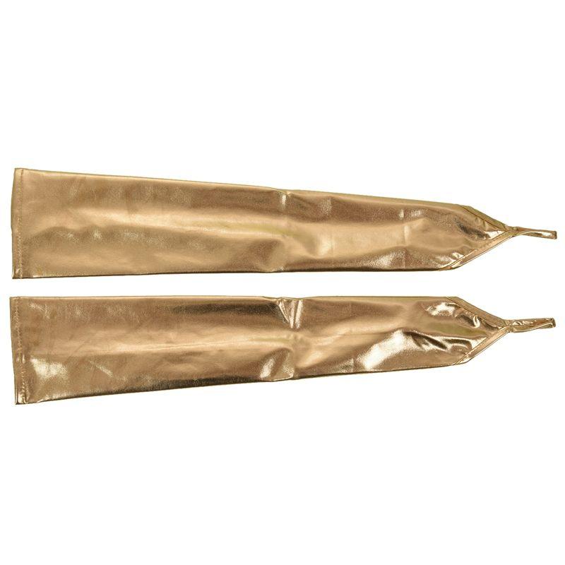 Womens Ladies Shiny Metallic Wet Look Sleeve Fingerless Arm Warmer One Size