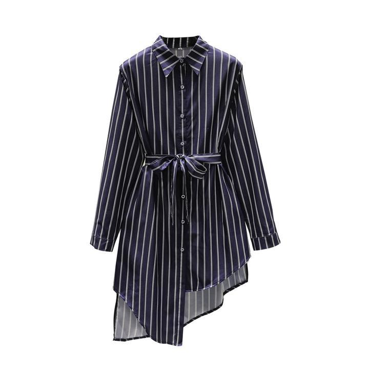 Più la camicia di formato per le donne a righe camicia lunga casuale di modo di autunno della molla del vestito dalla camicia XL 2XL 3XL 4XL 5XL