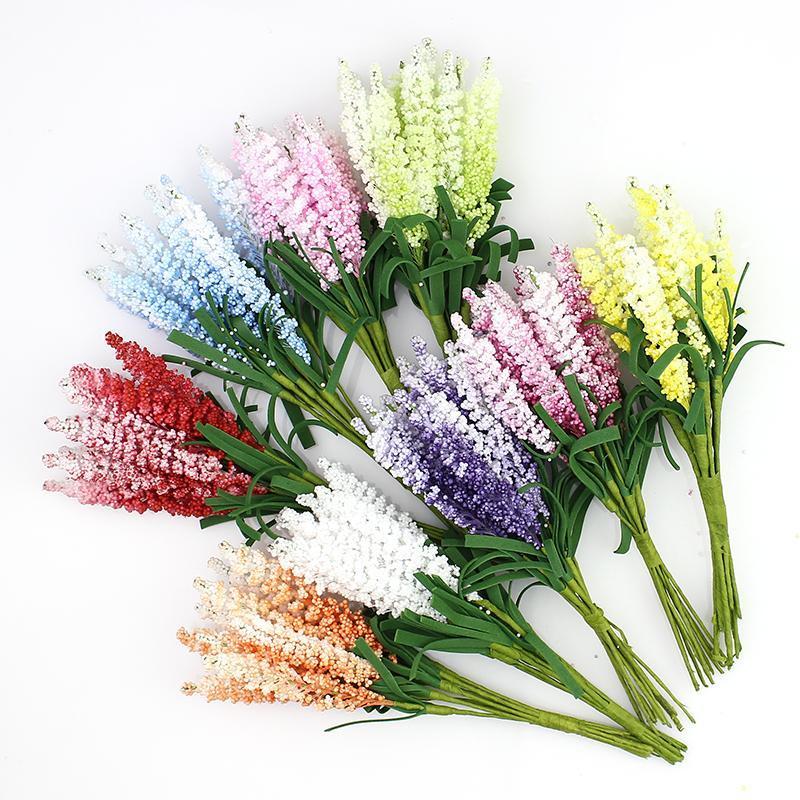 Lavande artificielle Bouquet de fleurs, multicolore en mousse Fleurs pour le mariage Couronne Scrapbook Décoration, 100pcs / Lot