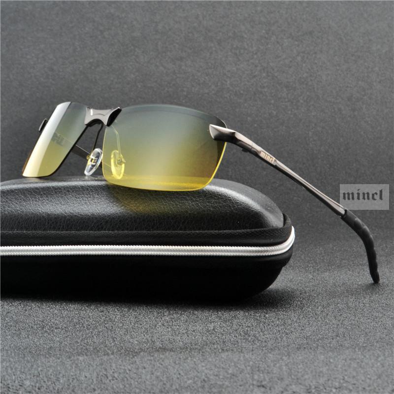 Lunettes de soleil pour hommes Polarized femmes jour et nuit Lunettes Mode Vision Métal Nuit Homme Homme Driving Goggle FML