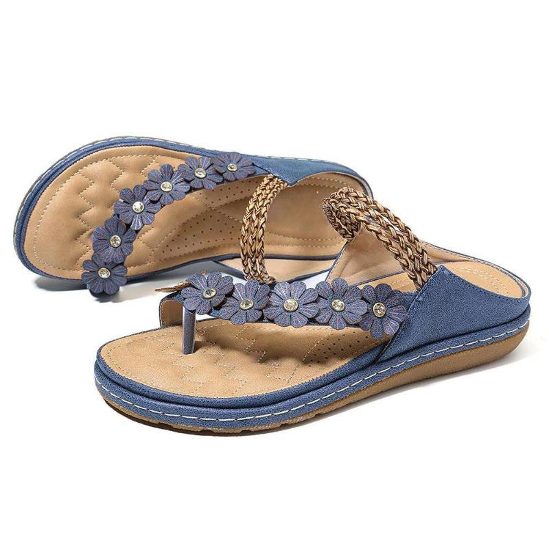 2020 Verão Plano Sandals Para Mulheres 3 cores Flores Sandals Multicolor PU Leather Floral Retro flip-flops Mulheres Chinelo Dropship