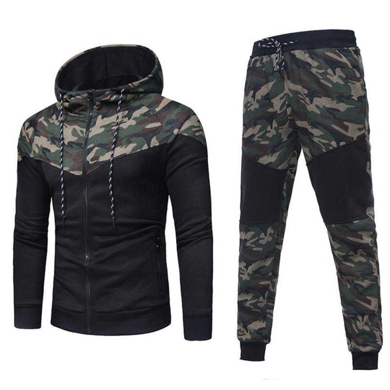 Laufen Sets Herren Herbst Winter Camouflage Sweatshirt Top Hosen Sets Sportanzug Trainingsanzug Männer Kleidung Chandal Hombre Größe M-3XL