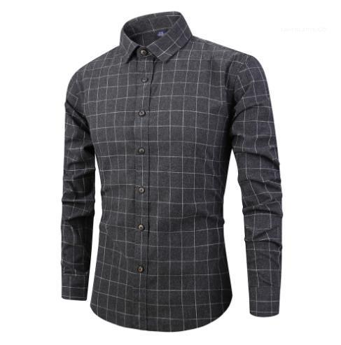 Casual Apparel Mens Autumn Plaid Print Casual Apparel Lapel Neck Long Sleeve Homme Clothing Fshion Solid Color