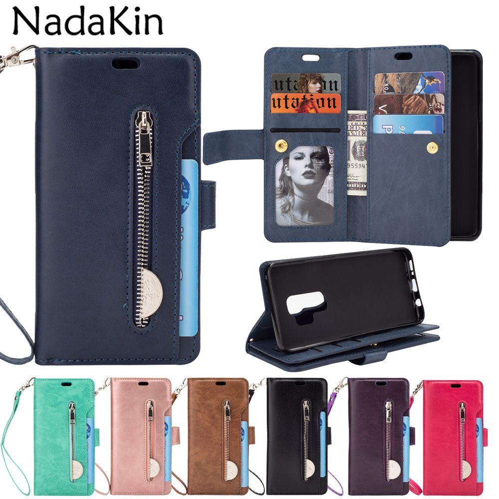 Zipper Wallet 9 Bolsillos para tarjetas Estuche funcional para Samsung Galaxy S6 S7 Edge S8 S9 A6 Plus J4 J6 J8 2018 Nota 8 9 A5 A7 2017